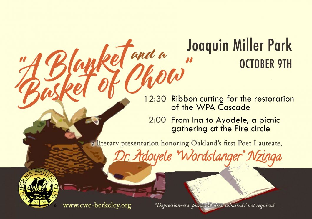 """""""A Blanket and a Basket of Chow""""— a Picnic Celebration of California Writers on October 9th"""